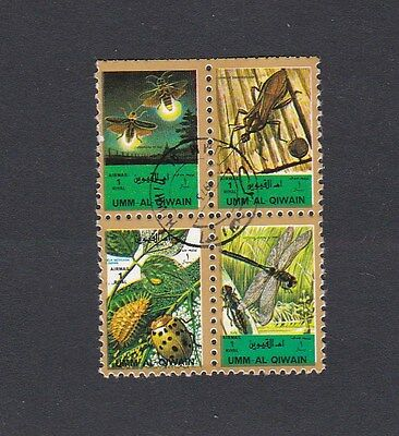 UMM AL QIWAIN ( UAE) - INSECTS- se tenant BLOCK x 4 different small stamps CTO