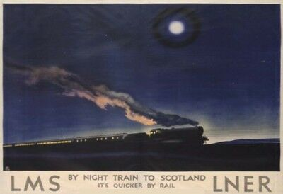 A4 LAMINATED - Night Train To Scotland LNER LMS - Railway Travel VINTAGE Posters