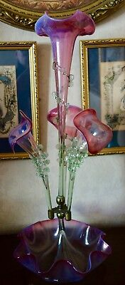 Victorian Cranberry-Pearline-Vaseline Glass Centre Piece - Epergne