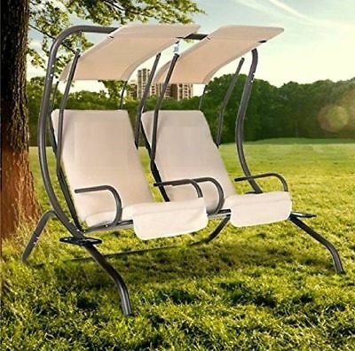2 Seater Garden Metal Swing Hammock Chair Bench Patio Outdoor Canopy Cushion