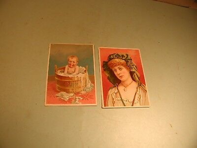 """2 Late 1800's """" Soapine  """" by Kendall Mfg, Co. Trade Cards"""