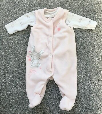 Mothercare my first little bunny velour dungaree girl bodysuit New Baby RRP £14