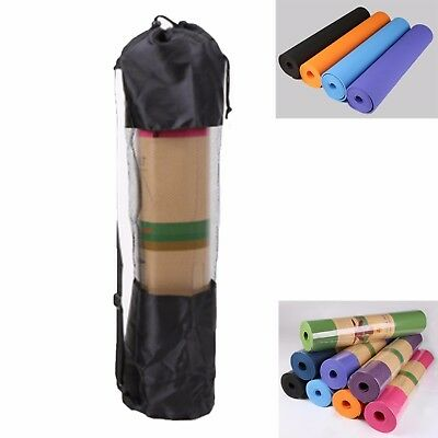 TPE Yoga Mat Exercise Fitness Eco Friendly Non Slip Dual Layer +Carry Bag &Strap