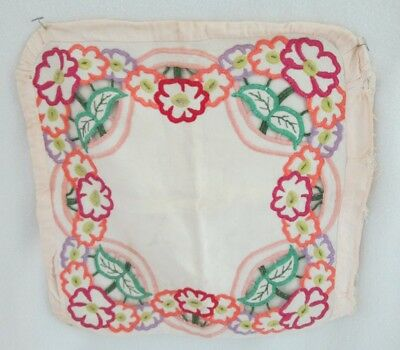 2 Vintage Linen Embroidered Cut Work Pillow Cases