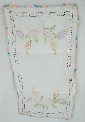 2 Vintage Table Scarves-Linen-Hand Embroidered-Crocheted Edges