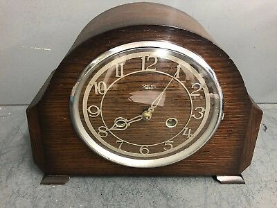 Vintage Art Deco Smiths Enfield 8 Day Chiming Mantle Clock