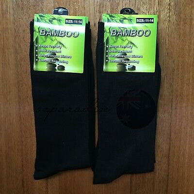 6 Pairs SIZE 11-14 95% BAMBOO SOCKS Men's Premium Work/School Socks Black