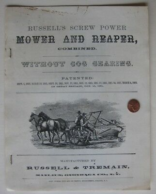 Russell's and Tremain Mower and Reaper Brochure Manlius NY 1862 Repriint