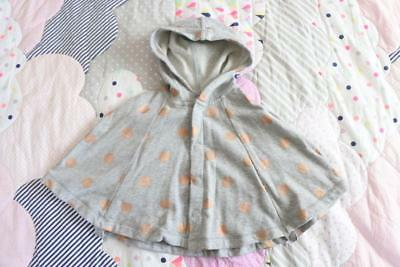 COUNTRY ROAD Sz S 3-12 months baby girls grey marle gold spot cape hooded poncho