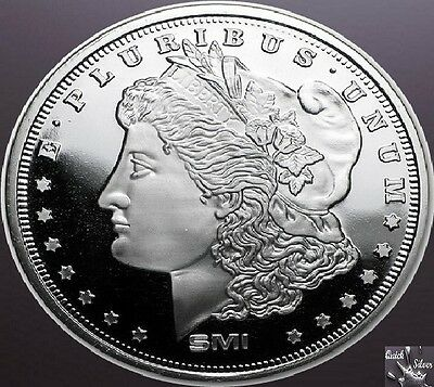 1 oz Sunshine Mint Silver Morgan Dollar Round **.999 fine & with MintMark SI**