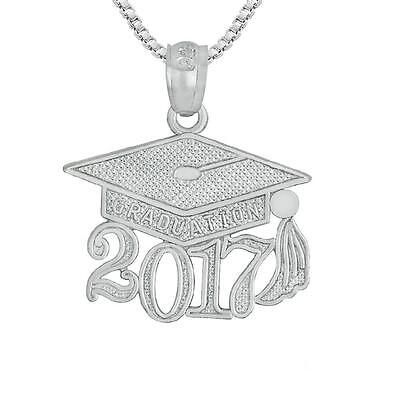"""Sterling Silver 2017 GRADUATION CAP Pendant / Charm, Made in USA, 18"""" Box Chain"""