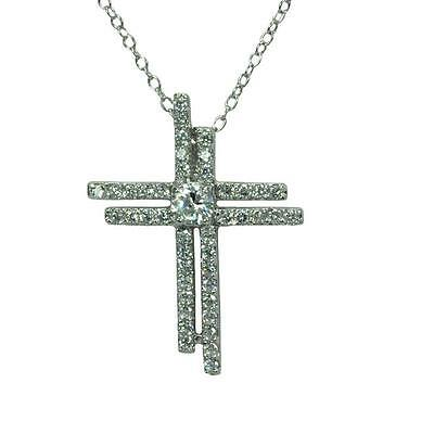 Sterling Silver Rhodium Plated Necklace w/ CZ Stones Double Cross Pendant