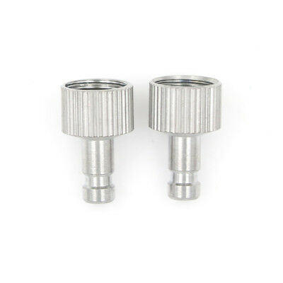 "2x 1/8"" Airbrush Quick Release Disconnect Hose Coupler Air Flow Silver Alloy FO"