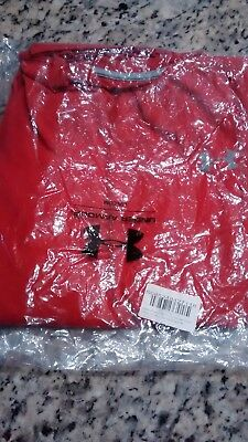 Under Armour Mens Size M Long Sleeve Shirt Red/Steel Underarmour Loose Fit