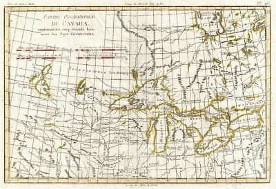 116122 MAP ANTIQUE BONNE 1775 WESTERN GREAT LAKES Decor WALL PRINT POSTER FR