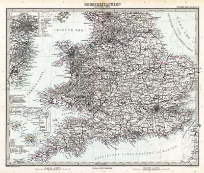 116667 MAP ANTIQUE STIELER 1891 SOUTH GREAT BRITAIN Decor WALL PRINT POSTER FR
