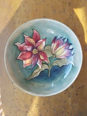 """Moorcroft Signed 9.5"""" Footed Clematis Bowl Unusual Pattern Superb Colours"""