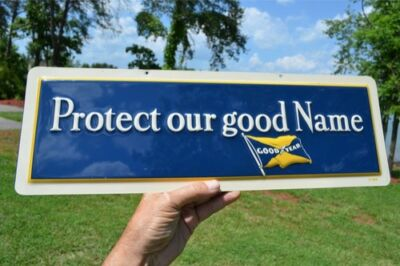 """Vintage Goodyear Tires Flag Sign """"protect"""" Super Nos Collectable Pc. Dead Mint!"""