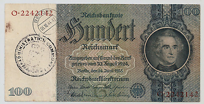 100 RM 1935 mit 2 Stempeln (Administration Communale.Beaufort+Befort 5.10.44-12)