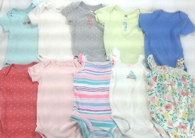 Ten (10) One Piece Body Suits for Baby Girl - 12 Months - Carter - Var. Colors