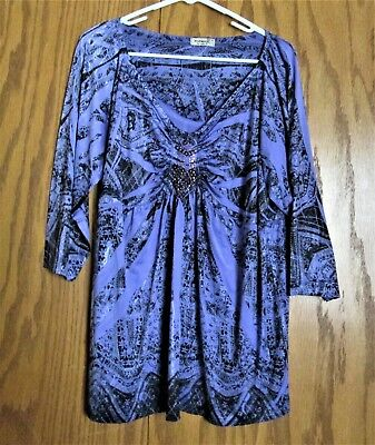 One World  Live and Let Live Embellished (Beading) Top - Size 1X