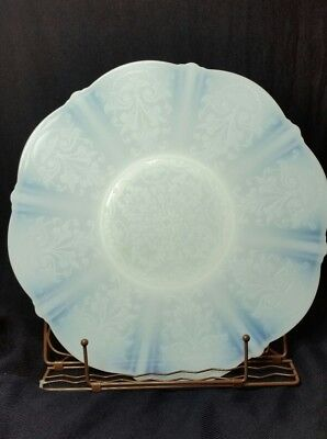 Vintage Opalescent White Milk Glass Large Serving Plate w/Lace Pattern Deco MCM
