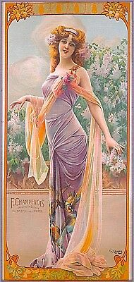 1894 Peacock Series Lilac Allure Vintage French Nouveau Travel Art Poster Print