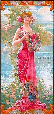 1894 Peacock Series Enraptured  Rose Vintage French Nouveau Travel Poster Print