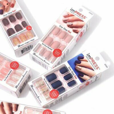 Kiss imPRESS Press-On Manicure One-Step Gel Nails 30 Nails - Choose Style **read