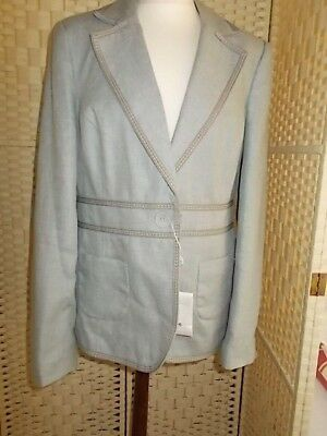 Ladies size 16 duck egg blue with taupe linen trouser suit from Next.