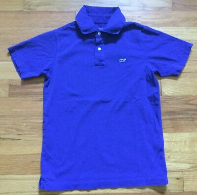 Vineyard Vines Short Sleeve Polo Shirt Youth Boy's Size 7 Solid Blue color Whale