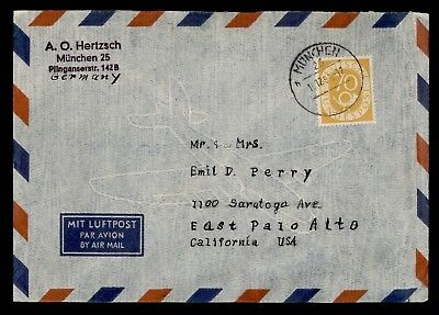 DR WHO 1953 MUNICH GERMANY CANCEL AIR MAIL TO USA  d20289