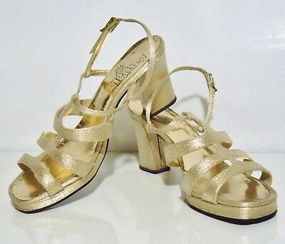 """Vintage 1950's PATIOS Gold Shimmery Strappy Heels Shoes - 9"""" in Length - 3"""" Heel"""