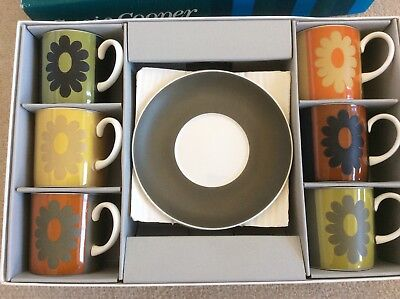 Susie Cooper Modernist 1960s Carnaby Daisy Harlequin porcelain coffee set boxed