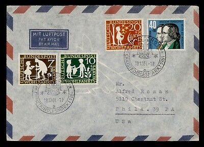 DR WHO 1961 NURNBERG GERMANY CHRISTMAS MARKET CANCEL AIR MAIL TO USA  d20324