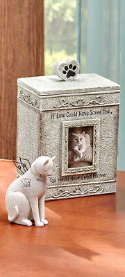 2 Pc. Set Cat Faithful Angel Pet Memorial Figurine & Sentimental Urn Statue Gift