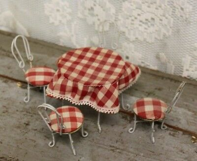 Vintage 1:12 Dollhouse Metal Ice Cream Parlor Table & Chairs Bistro Set  *10
