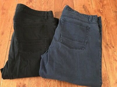 Lot Of 2 Kenneth Cole Reaction Size 34/34 Navy Mens Pants Flat-Front Slim Fit