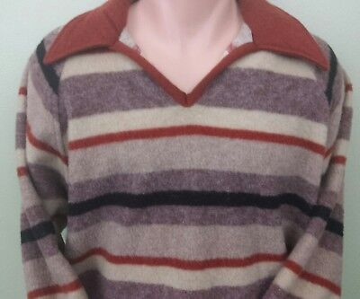 JCP JC PENNEY'S 70's Men's Beige Striped V Neck Sweater XL 46-48