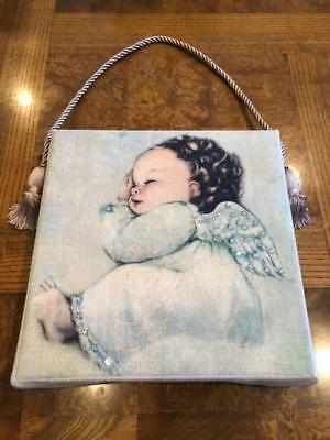 Terra Traditions Angel Baby girl hanging picture Crystals wings