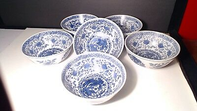 6 Early 20Th Century Chinese Export Large Porcelain Bowls #53
