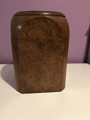 Antique Humidor  Birds Eye Maple Thick Glass With Old Sponge