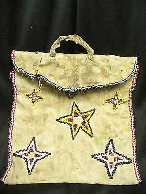 1880s Apache Indian Bag with Star Motif and Silver Navajo Button