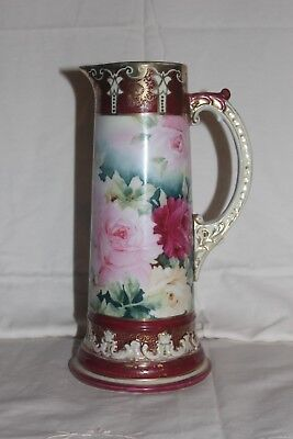 Large Bavaria-Style Hand Painted Tankard Unmarked