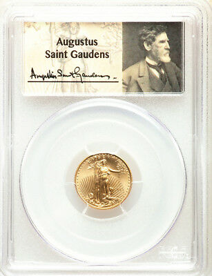 2015 1/10 oz Gold American Eagle PCGS MS70 Wide Reeds First Strike Saint-Gaudens
