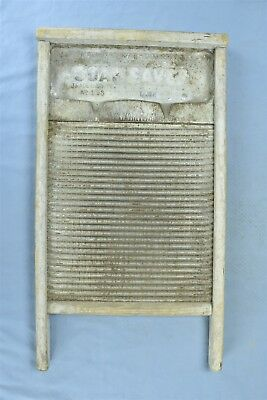 Antique 1917 NATIONAL SOAP SAVER WASHBOARD TIN SURFACE LAUNDRY ROOM WASHING 5401