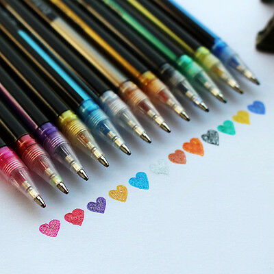 12-48pcs Colorful Gel Art Pen Glitter DIY Painting Pens Scrapbooking Ink Draw PL
