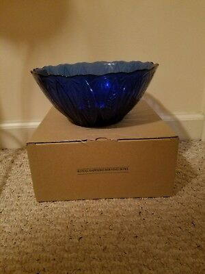 "Avon Royal Sapphire Blue Large 9 1/2"" Round Serving Bowl, France"