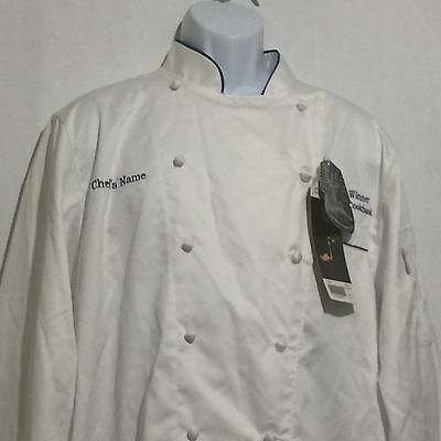 "NEW Chef Works Uniform Jacket Size 44"" White with Blue Trim 2008 Winner"