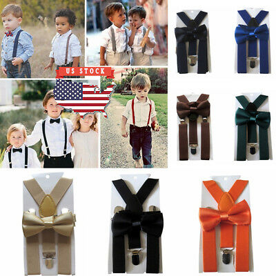 Boys Kids Suspender Bowtie Sets Adjustable Skinny Style Clip-on Braces Gift Idea